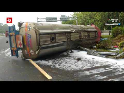 Fatal tanker lorry accident causes acid spill, road closure