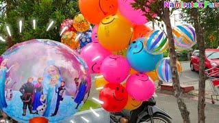 belanja membeli mainan anak balon balon disney frozen lucu dengan Abang Penjual Mainan Balon Anak