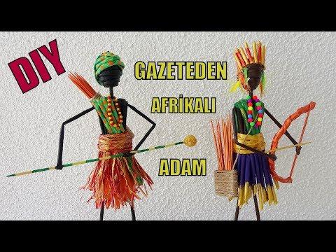 TÜRKİYE'DE İLK! (Gazeteden Afrikalı ve Kızılderili Adam Yapımı) / DIY African Man From Newspaper