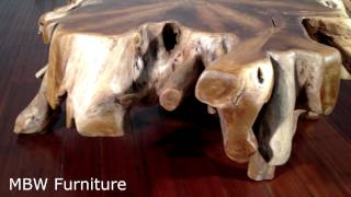 4ft Wide Solid Teak Root Stump Rustic Coffee Table Mbwjrf011-n
