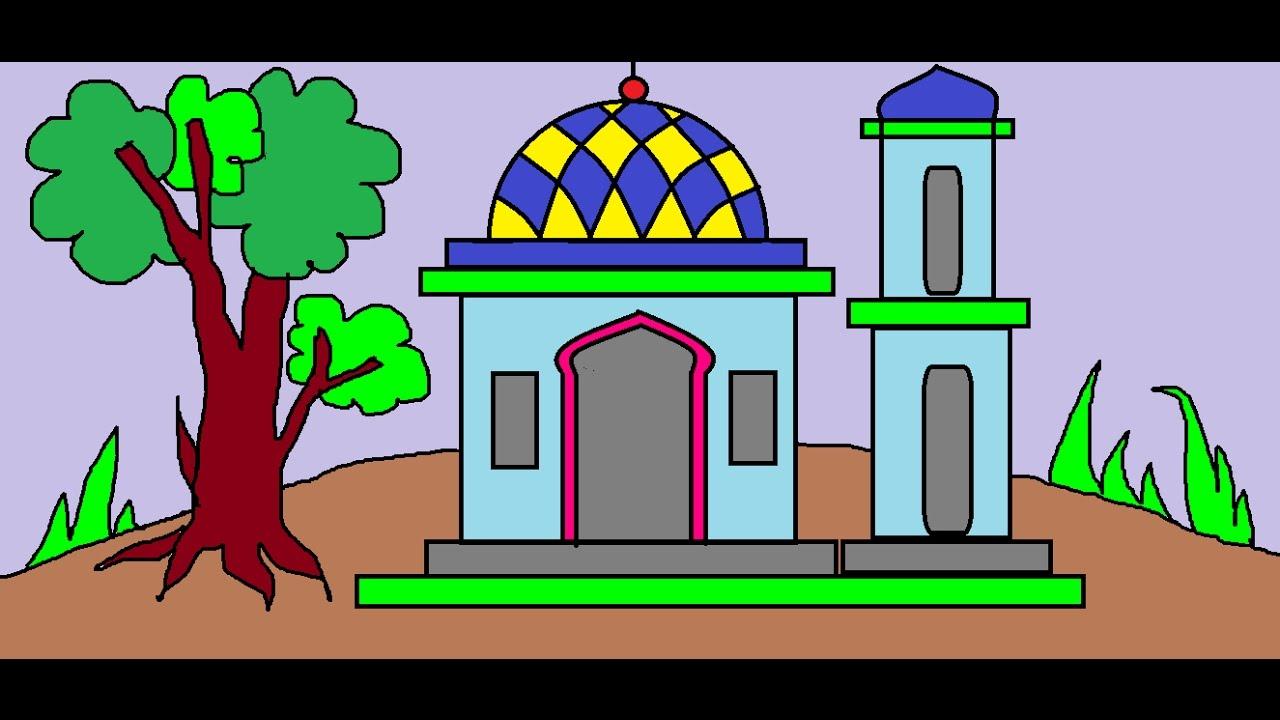44 Gambar Ilustrasi Pemandangan Masjid Gambarilus
