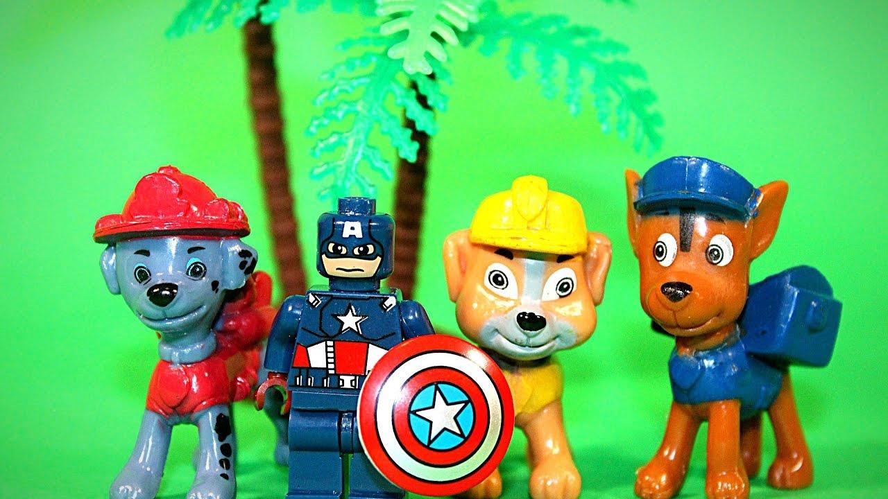 Мультик ЩЕНЯЧИЙ ПАТРУЛЬ на русском Капитан Америка спасает щенячий патруль от нападение динозавров