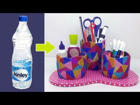 How to Reuse Plastic Bottles? Empty Plastic Bottle Desk Organiser   StylEnrich