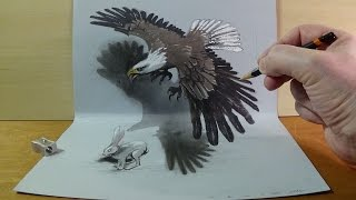 Art in 3D - Drawing a Hunting Eagle - Awesome 3D Animals