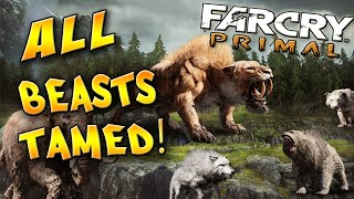 Far Cry Primal Tame ALL Beasts! - Bloodfang, Wolf, Bloodtusk, RARE, Mammoth, Leopard - How to
