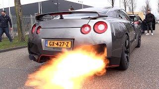 NISSAN GTR R35 SPITTING MASSIVE FLAMES!