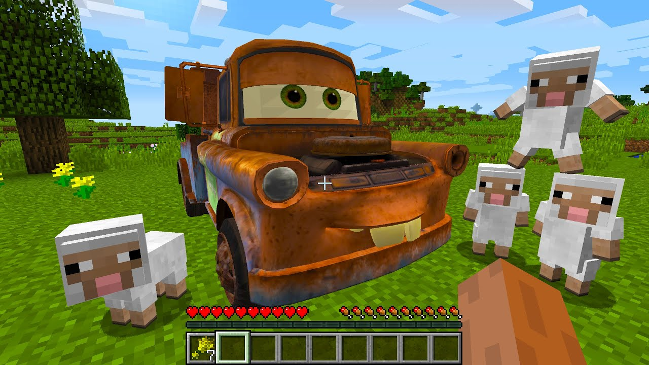 CURSED MINECRAFT BUT IT'S UNLUCKY LUCKY FUNNY MOMENTS I found a REAL Mater Tow Truck in Mineraft