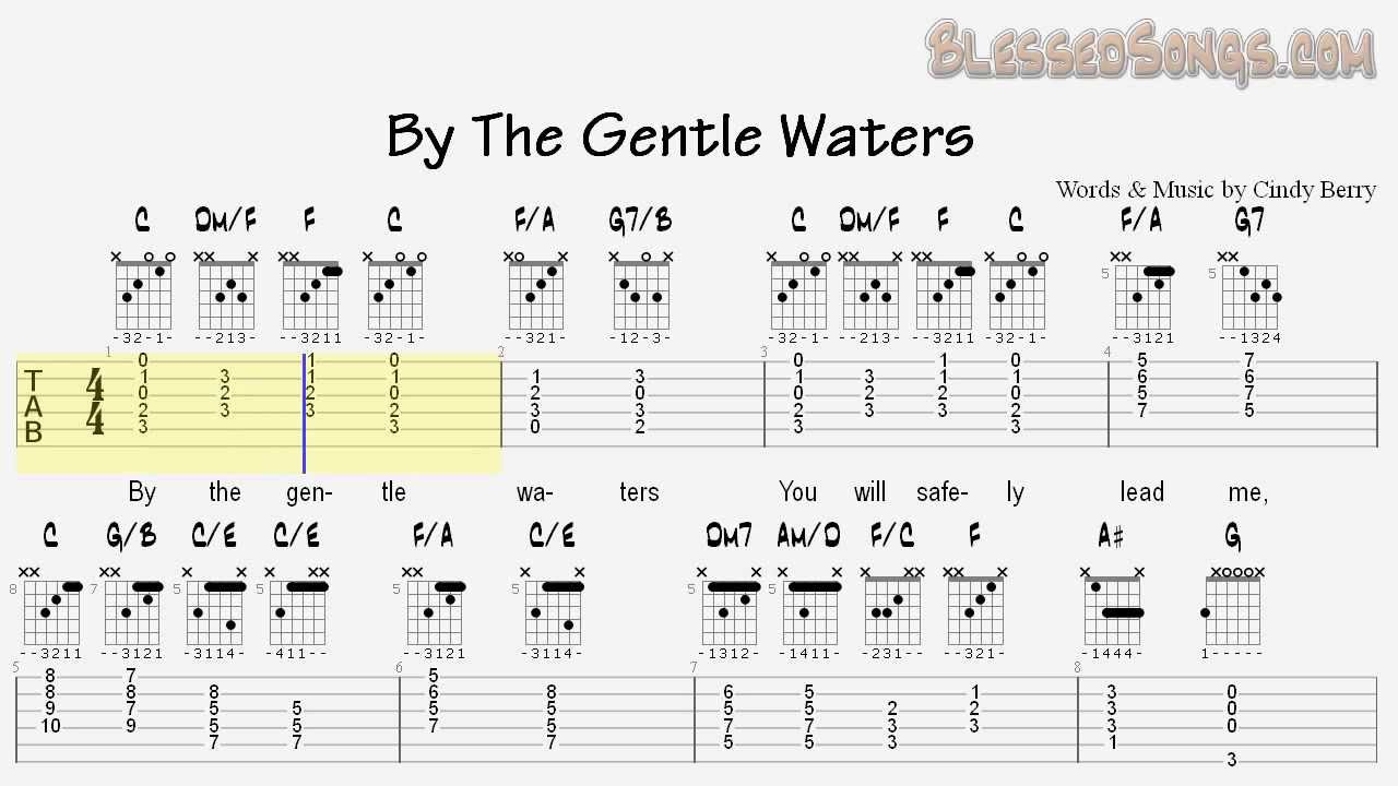 Sacred Guitar Cindy Berry By The Gentle Waters Tablature And