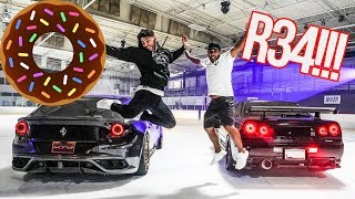 INSANE DONUTS IN RARE SKYLINE R34!!! *FERRARI ON ICE*