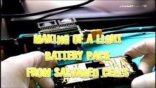 making of a lights battery pack from salvaged cells 2s3p