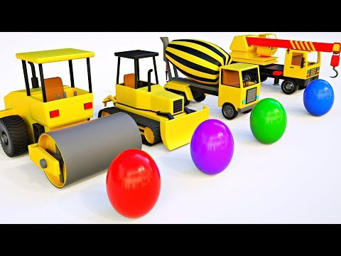 Build Dump Truck, Bulldozer Mixer Truck, Crane Truck for Kids - Trucks with Surprise Eggs