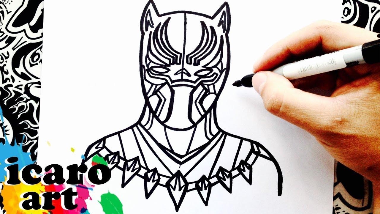 como dibujar a pantera negra | how to draw black panther | como ...