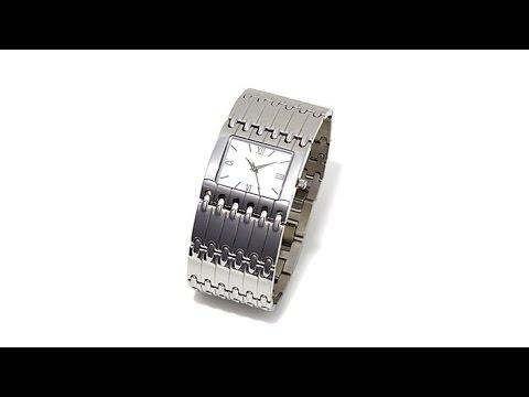 Stately Steel Rectangular Case Wide Link Bracelet Watch