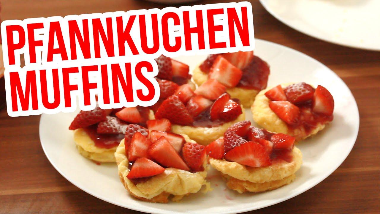 pfannkuchen muffins rezept mit erdbeeren youtube. Black Bedroom Furniture Sets. Home Design Ideas