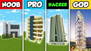 Minecraft NOOB vs. PRO vs. HACKER vs GOD: LUXURY APARTMENT BUILD CHALLENGE in Minecraft! (Animation)