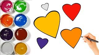 How to Draw and Paint Hearts for Baby | Hearts Coloring Pages for Kids | Love Coloring Painting