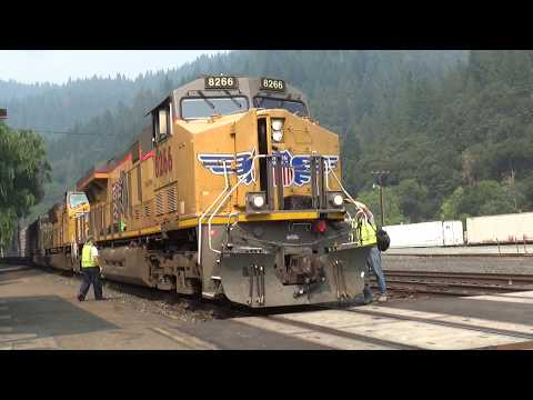 HD- Two Union Pacific Manifest Trains at Dunsmuir, CA with a Crew Change