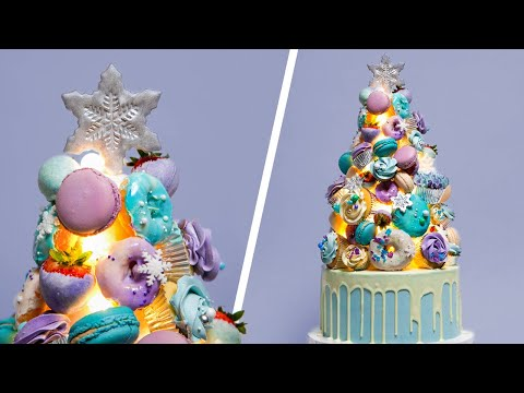 LIGHT UP Christmas Tree CAKE  Holiday Baking Dessert Ideas  How To Cake It Step By Step