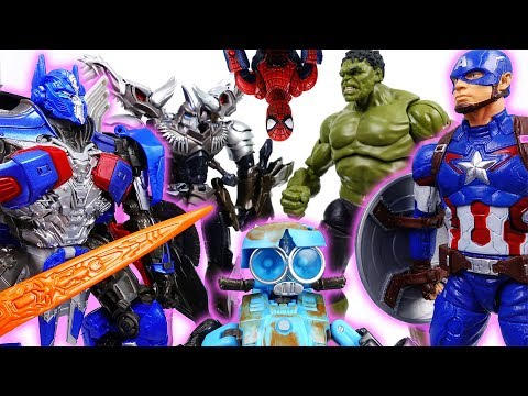 Thumbnail: Avengers VS. Transformers~! Stop Fighting, Beat A Dinosaur Together- ToyMart TV