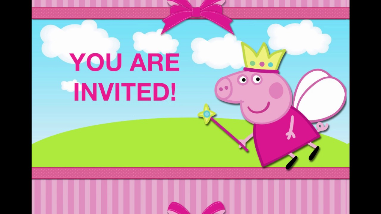 Animated Invitations Peppa Pig Birthday Party Unique Ooak