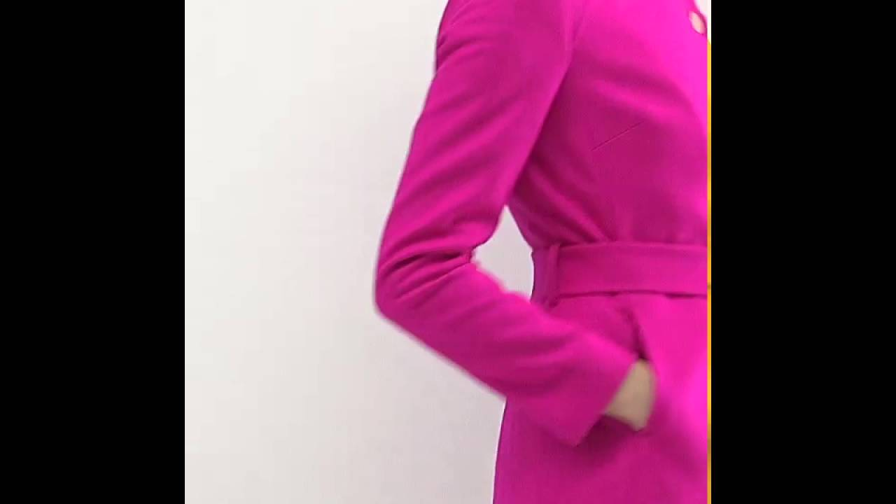 252e86eb7994db Ted Baker Aurore Long Wrap Collar Coat in Pink - YouTube