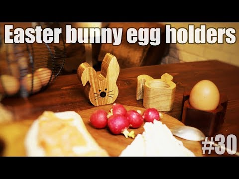 DIY wooden egg holder in a shape of a bunny - Easter egg holder
