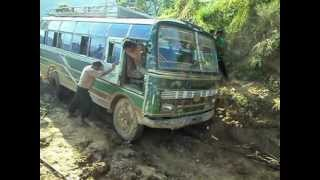 Bus stuck in Muddy road in Nepal(Deadliest way of Gorkha Nepal)