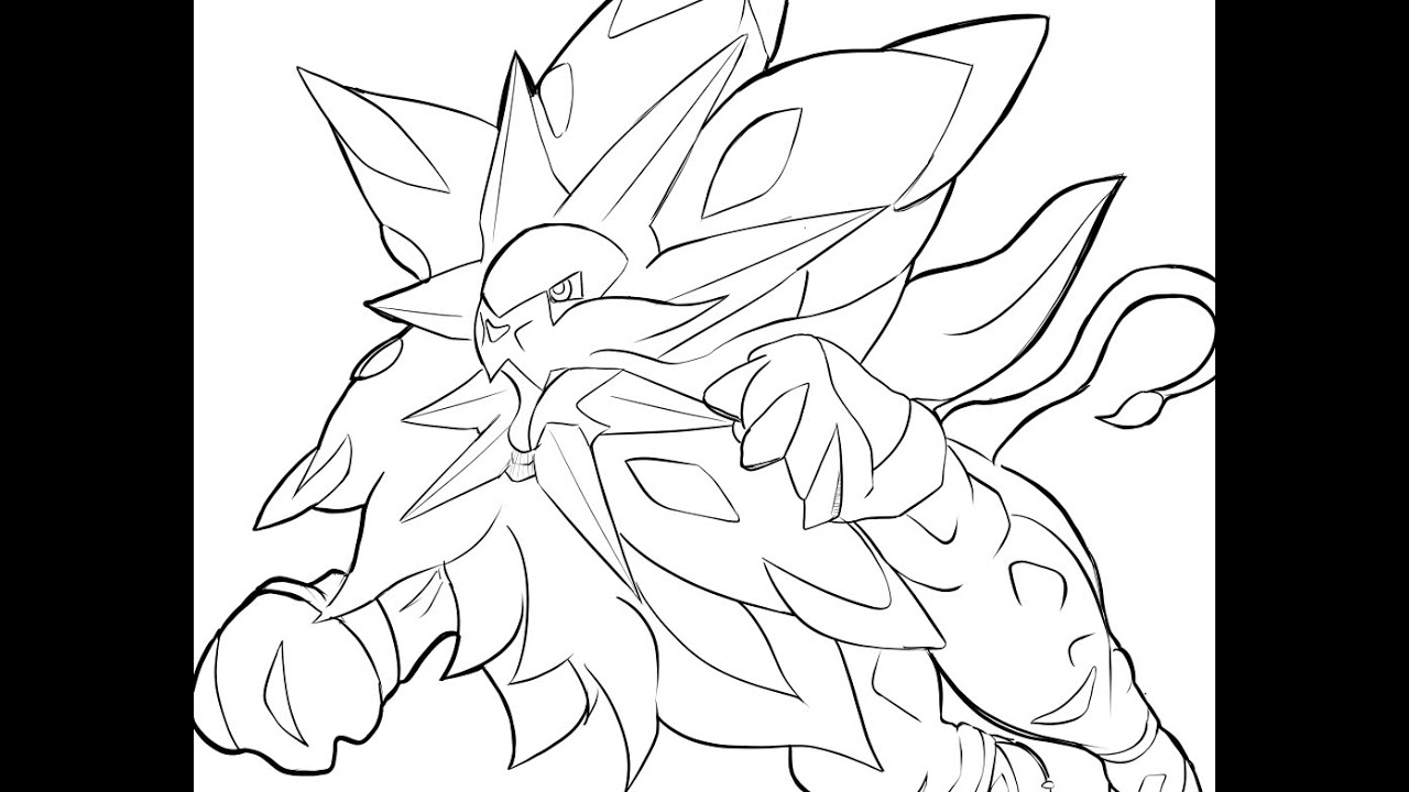 Speed drawing solgaleo pokemon sun dessiner - Modele dessin pokemon ...