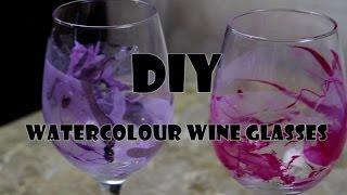 [DIY] WATERCOLOUR WINE GLASSES!