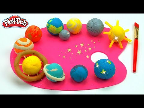 Learn Planets with Play Doh Paint Pallet   123 Count   Colors of Solar System planets   Space