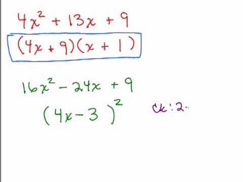 Factoring 17-Perfect Square Trinomials