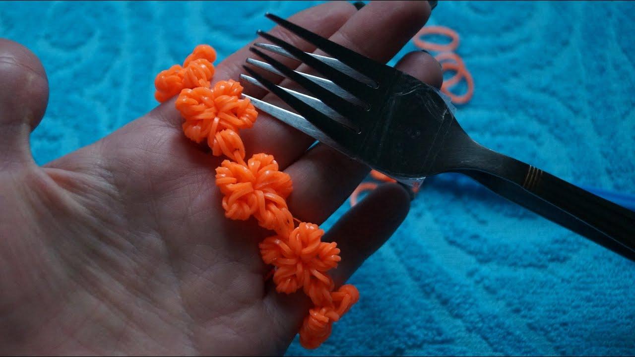 Браслет из резиночек цветочки