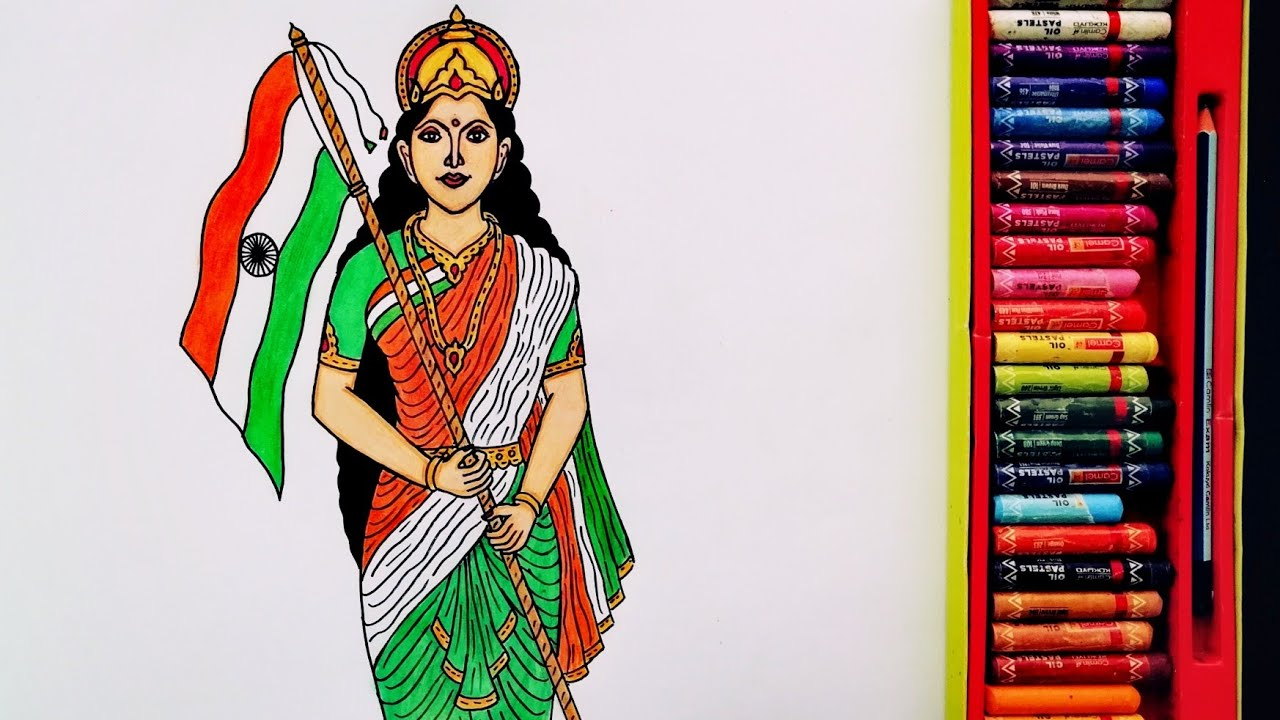 How to Draw Bharat Mata Step By Step | 15 August Special Painting | Drawing Of Happy IndependenceDay