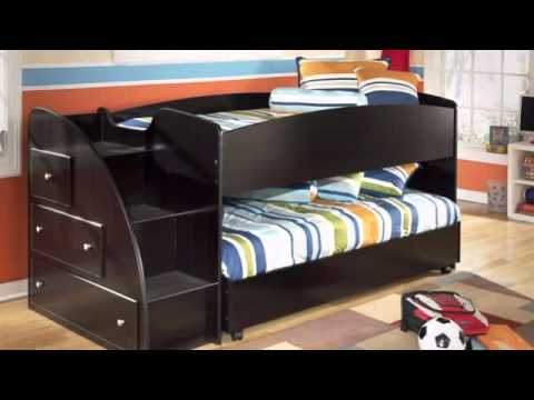 Embrace Youth Twin Loft Bed with Shelves u0026 Drawers from Ashley & Embrace Youth Twin Loft Bed with Shelves u0026 Drawers from Ashley - YouTube