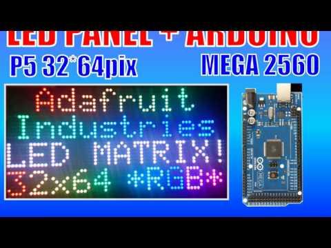 64x32 RGB Adafruit LED Matrix and Arduino Mega 2560 - YouTube