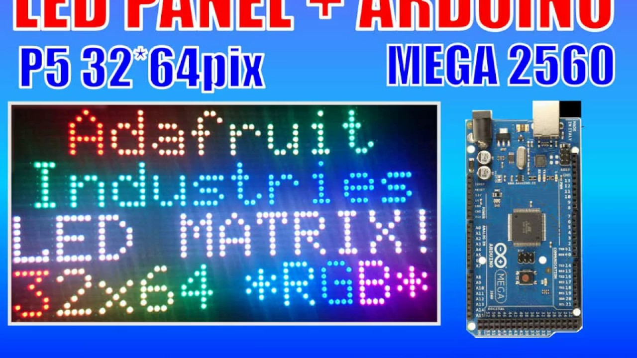 64x32 RGB Adafruit LED Matrix and Arduino Mega 2560