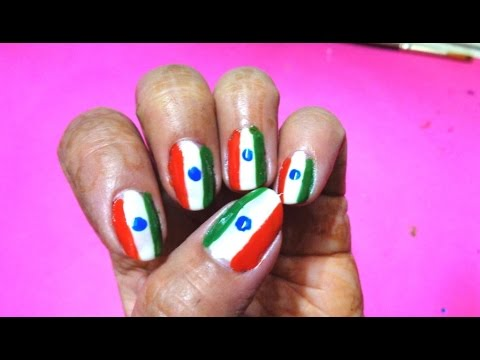 Indian Flag Colours In Nail Art K17 Youtube