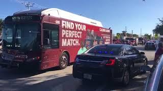 Buses arrive at EMS staging area to transport Parkland students