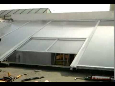 techo corredizo de aluminio y policarbonato alveolar de 6m cristal