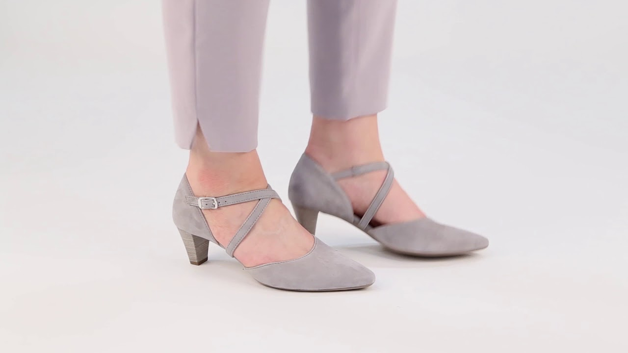 faec00a2223 Gabor Callow Stone Suede Womens Modern Cross Strap Court Shoes - YouTube