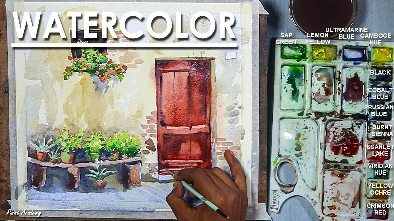 Old Door and Window of Italy Watercolor Painting