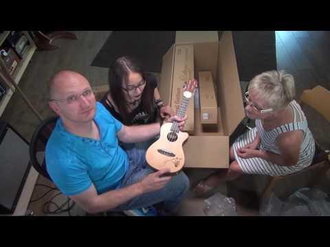 Ortega unboxing with Mommy and Kiana (Kiana's new guitar)