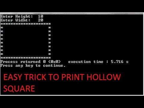 C program to print hollow square or rectangle-c programming tutorial-17