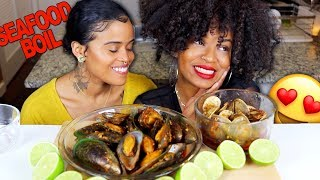 GREEN-LIPPED MUSSELS AND CLAMS SEAFOOD BOIL MUKBANG