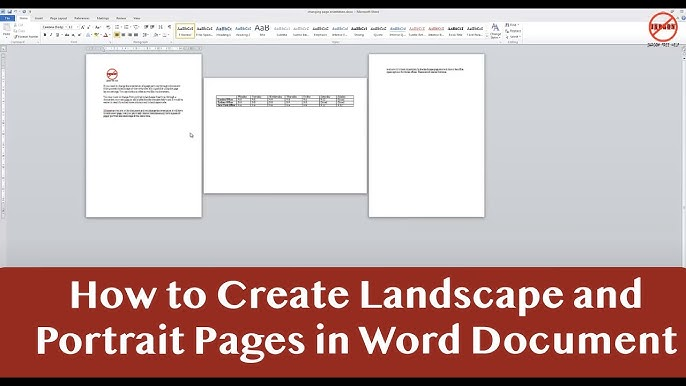 Portrait And Landscape In Same Word Document Youtube