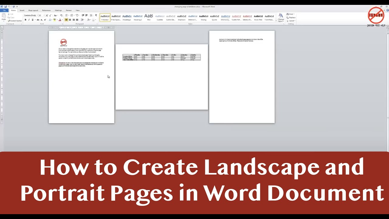 Portrait and landscape in same word document youtube ccuart Gallery