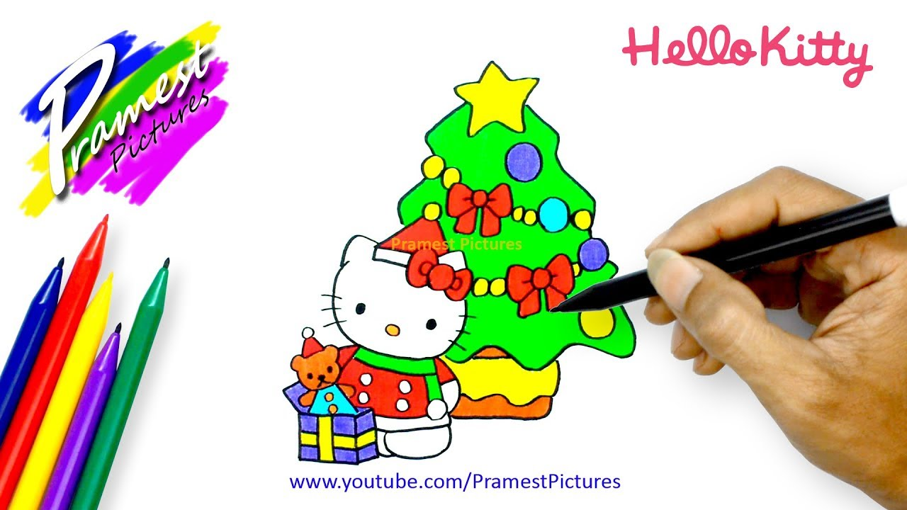 How To Draw Hello Kitty With Christmas Tree
