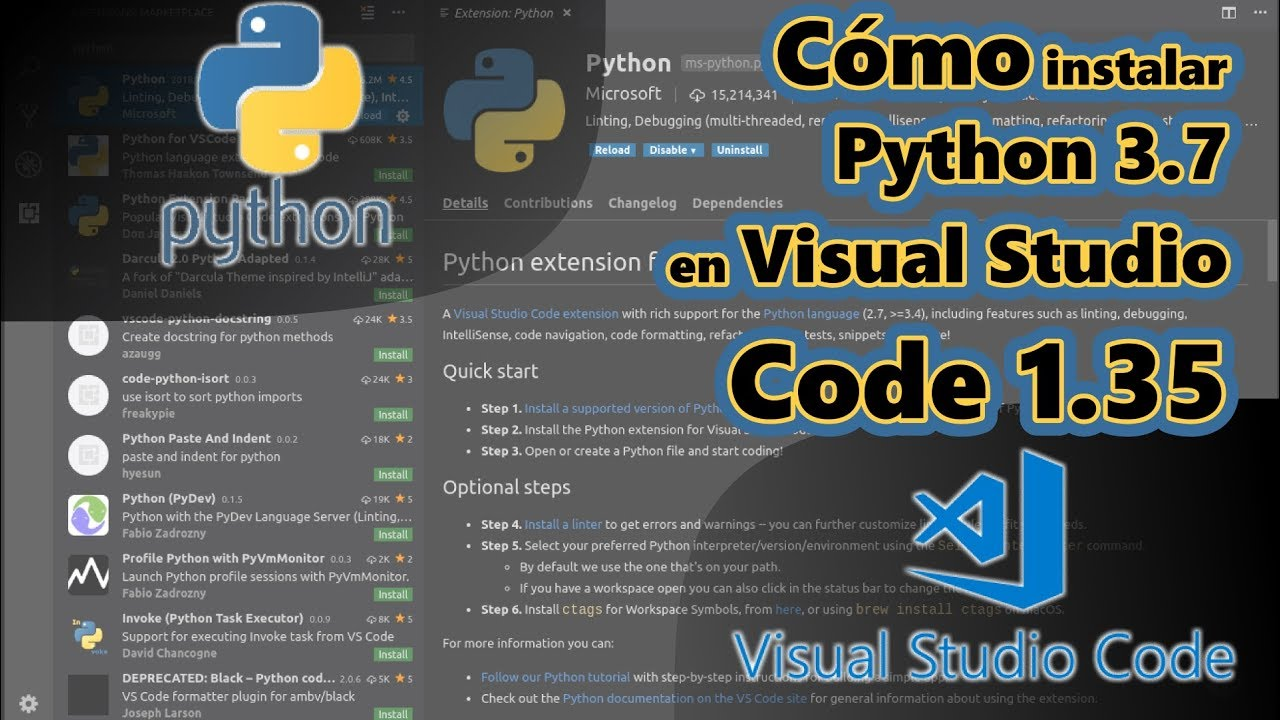 Instalación de Python 3 7 para Windows 10 con editor Visual Studio Core 1 35