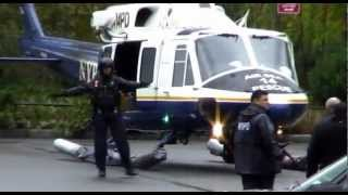Hurricane Sandy: Mayor Bloomberg and Senator Schumer w. NYPD Air Sea Rescue [EXCLUSIVE]