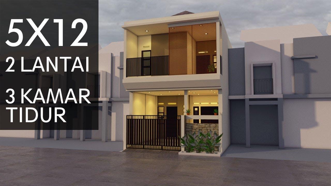 Desain Rumah 5x12, 2 Lantai - YouTube